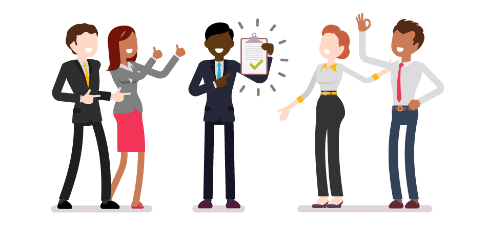 Illustrations of work professionals, dressed business casual. All looking at the center person, praising his job application.