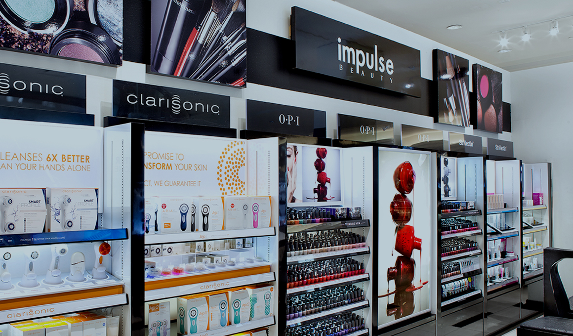 Cosmetics display inside a Macy's store