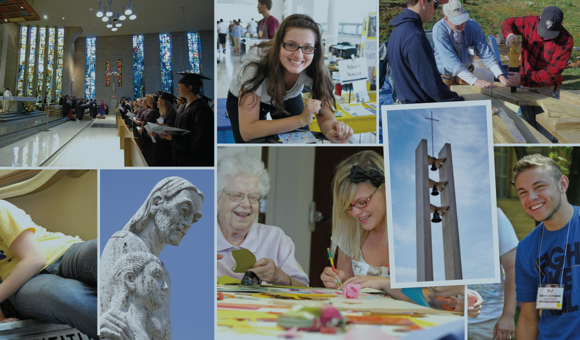 Collage of photography curated for Mount St. Joseph University campaign including students, events and campus