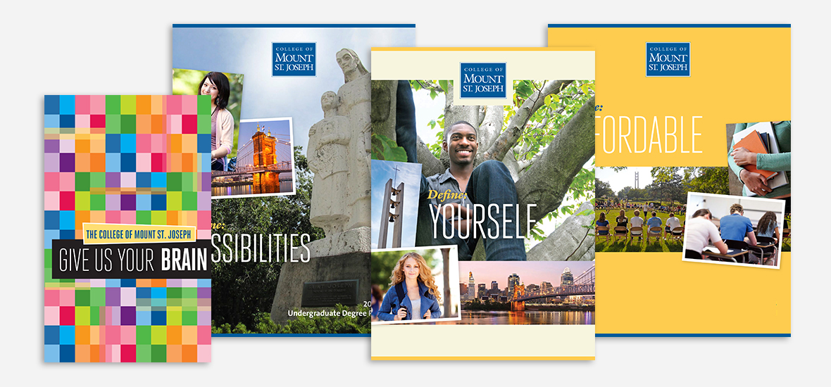 Covers of travel, undergraduate degrees, viewbook and financial aid brochures