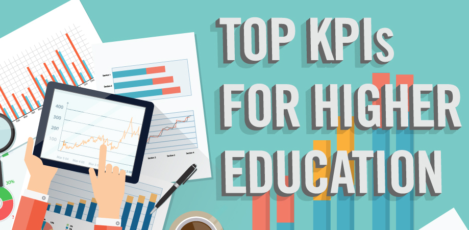 "Illustrations of graphs and charts with text reading, ""Top KPIs for Higher Education."""