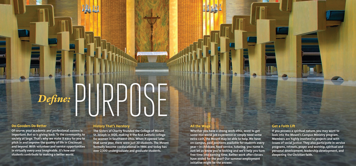 Crop of brochure highlighting custom photography of the campus chapel and typography that reads Define: Purpose