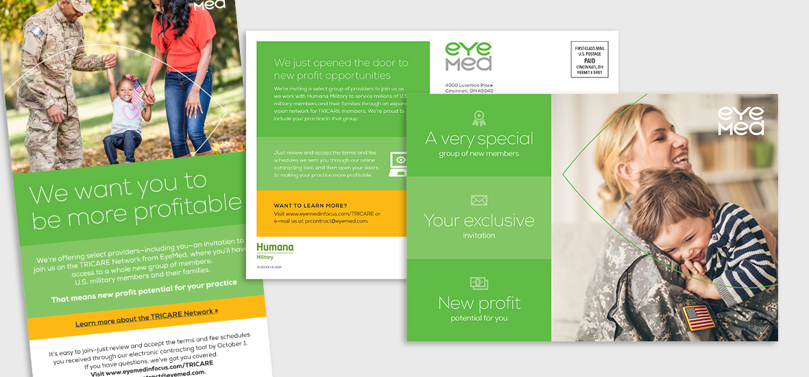 Postcard and crop of an email from the Humana Military provider recruiting campaign featuring brand elements such as authentic photography, bold colors, friendly icons and clean minimalist typography.